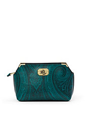 Acadia Paisley Leather Cosmetic Bag