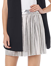 Pleated Perforated Mini Skirt