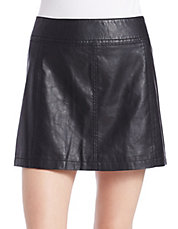 Faux-Leather Mini Skirt