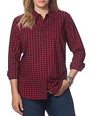 Plus Checked Poplin Shirt
