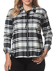 Plus Plaid Twill Zip-Up Work Shirt
