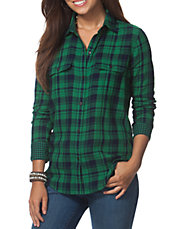 Plus Plaid Twill Work Shirt