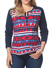 Plus Southwestern Cotton Henley Top