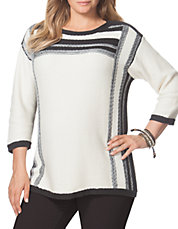 Plus Textured Striped Sweater