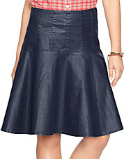 Coated Fit-and-Flare Skirt