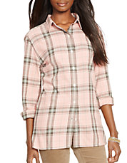 Petite Plaid Twill Boyfriend Shirt