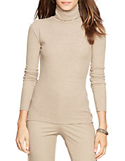 Petite Elbow-Patch Cotton Turtleneck