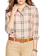 Plus Plaid Twill Boyfriend Shirt