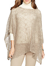 Plus Mohair-Wool Pointelle Poncho