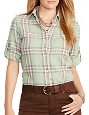 Plus Plaid Roll-Cuff Shirt