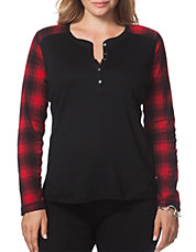 Plus Buffalo Plaid Cotton Henley