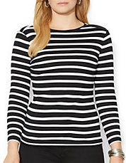 Plus Zip Shoulder Striped Top