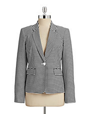 Striped Single-Button Blazer