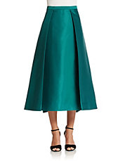 Sateen Calf Length Skirt