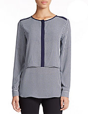 Houndstooth Popover Placket Tunic