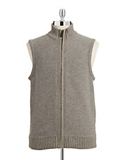 Textured Full Zip Vest