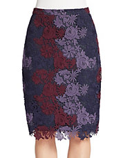 Midnight Garden Lace Pencil Skirt