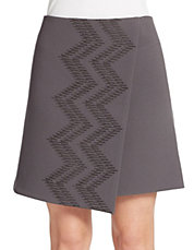 Embroidered Faux-Wrap A-Line Skirt