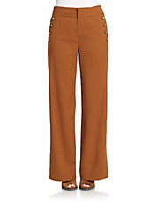 Twill Flannel High-Waisted Trousers
