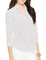 Petite Wrinkle Free Polka Dot Dress Shirt