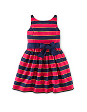 Striped Fit-and-Flare Sash Dress