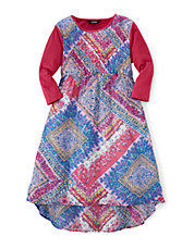 Crinkle Patchwork Print Dress