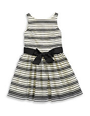 Sheer Stripe Fit-and-Flare Dress