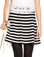 Striped A Line Skirt
