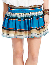 Striped Smocked Miniskirt