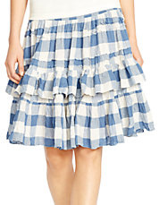 Crinkled Gauze Tiered Skirt