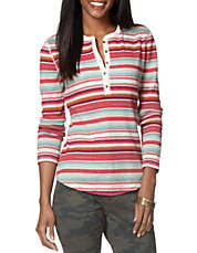 Petite Striped Cotton Henley