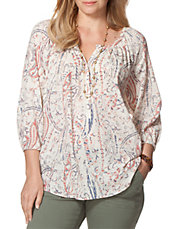 Plus Paisley Peasant Top