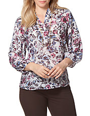 Plus Floral Print Peasant Top