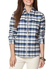 Petite Plaid Full-Zip Workshirt