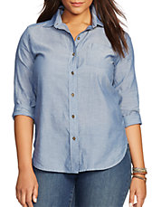 Plus Sateen Chambray Button Shirt
