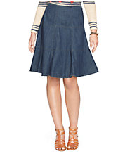 Denim Fit-and-Flare Skirt