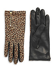 Leopard Calf Hair and Leather Gloves