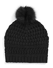 Chunky Tuque with Fox Fur Pom Pom
