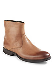 Cushioned Leather Zip Boots