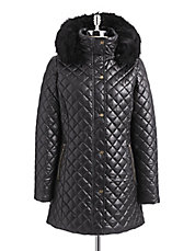 Diamond Quilt Faux Fur Coat
