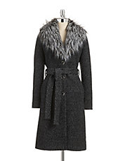 Boucle Coat with Faux Fur Collar