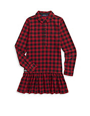 Flared Plaid Shirt Dress