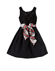 Sequin Tartan Plaid Party Dress
