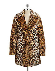 Faux Fur Notch Collar Leopard Coat