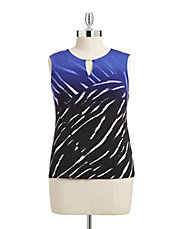 Plus Sleeveless Printed Keyhole Blouse