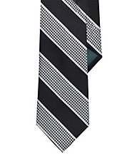 Striped Houndstooth Silk Tie