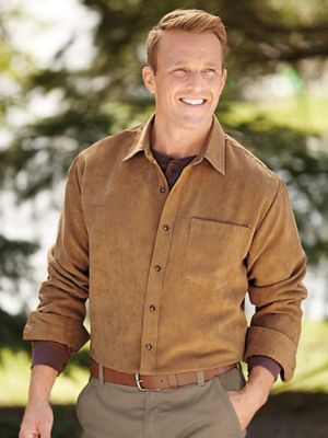 Stone Creek Forged Suede Shirt  Looks & feels exactly like the real thing! But it's even better than suede because this manly masterpiece is actually 100% polyester!  Wear it with your favorite jeans, corduroys, dress pants - this versatile, buttery-soft shirt makes your entire wardrobe better!  Handy chest pocket, too.  Machine wash/dry.
