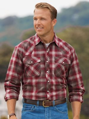 Stone Creek Maverick Shirt  howdy... Introducing our ruggedly handsome, western-style shirt!  It's sure to get you more then a few friendly greetings from style-struck admirers.  Made of yarn-dyed, cotton flannel and heavyweight denim, this shirt will tough out any amount of washing or wearing.  Plus, 2 chest pockets & antique-style snaps.