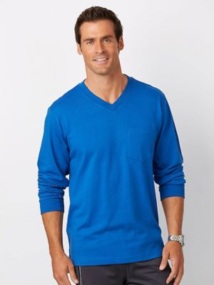 Long-Sleeve Affordabili-Tees You'll want to stock up on these soft jersey knit V-neck tees! Great for layering, too! Machine care cotton/polyester.