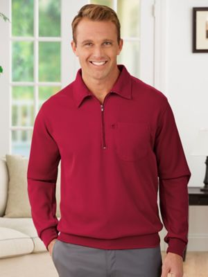 Constructed for cool weather! Warmth, texture & comfortable, casual style — you can't ask for more! Okay, maybe just a little more... like an easy-zip placket, banded cuffs & bottom, and a chest pocket with a thoughtful eyeglass loop. Oh! And machine washability because it's 100% polyester. Hurry!